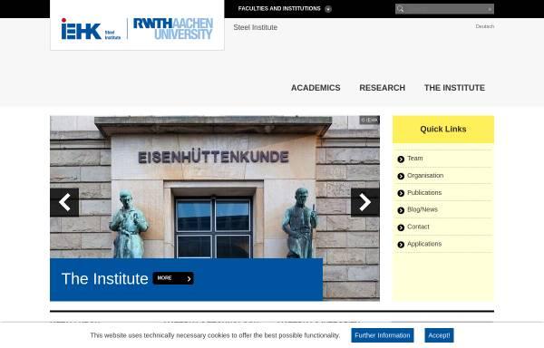Vorschau von www.iehk.rwth-aachen.de, Institut für Eisenhüttenkunde (IEHK) der RWTH Aachen