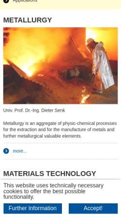 Vorschau der mobilen Webseite www.iehk.rwth-aachen.de, Institut für Eisenhüttenkunde (IEHK) der RWTH Aachen