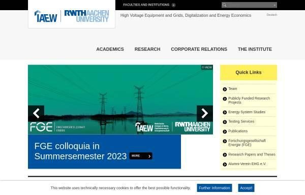 Vorschau von www.iaew.rwth-aachen.de, Institut für Elektrische Anlagen und Energiewirtschaft der RWTH Aachen