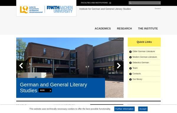 Vorschau von www.germlit.rwth-aachen.de, Institut für Germanistische und Allgemeine Literaturwissenschaft der RWTH Aachen