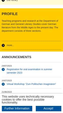 Vorschau der mobilen Webseite www.germlit.rwth-aachen.de, Institut für Germanistische und Allgemeine Literaturwissenschaft der RWTH Aachen