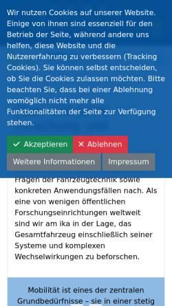 Vorschau der mobilen Webseite www.ika.rwth-aachen.de, Institut für Kraftfahrwesen (IKA) der RWTH Aachen