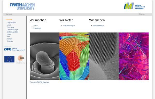 Vorschau von www.imm.rwth-aachen.de, Institut für Metallkunde und Metallphysik (IMM) der RWTH Aachen