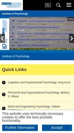 Vorschau der mobilen Webseite www.psych.rwth-aachen.de, Institut für Psychologie der RWTH Aachen