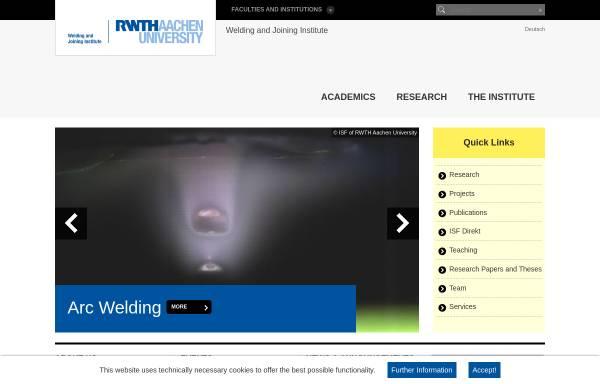 Vorschau von www.isf.rwth-aachen.de, Institut für Schweißtechnik und Fügetechnik (ISF) der RWTH Aachen