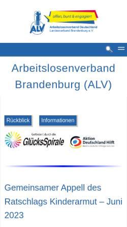 Vorschau der mobilen Webseite www.arbeitslosenverband.org, Arbeitslosenverband Deutschland e.V.
