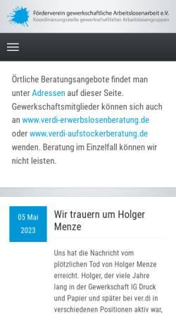 Vorschau der mobilen Webseite www.erwerbslos.de, Förderverein gewerkschaftliche Arbeitslosenarbeit e.V.