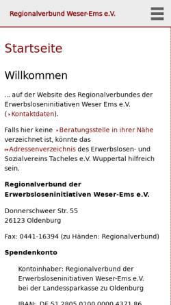 Vorschau der mobilen Webseite www.erwerbslosenberatung-weser-ems.de, Regionalverbund Erwerbsloseninitiativen Weser-Ems e.V.