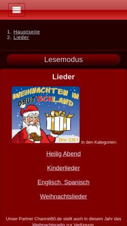 Vorschau der mobilen Webseite www.weihnachtsstadt.de, Weihnachtsstadt - Lieder