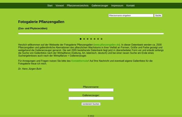 Vorschau von www.pflanzengallen.de, Fotogalerie und Systematik der Pflanzengallen