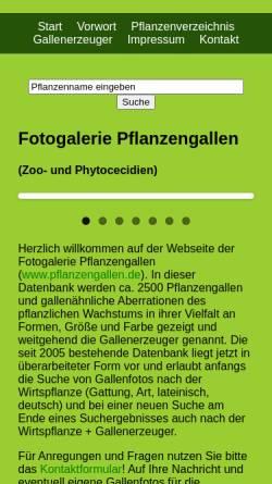 Vorschau der mobilen Webseite www.pflanzengallen.de, Fotogalerie und Systematik der Pflanzengallen
