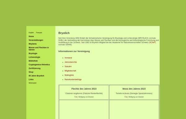 Vorschau von www.bryolich.ch, Schweizerische Vereinigung für Bryologie und Lichenologie (Bryolich)