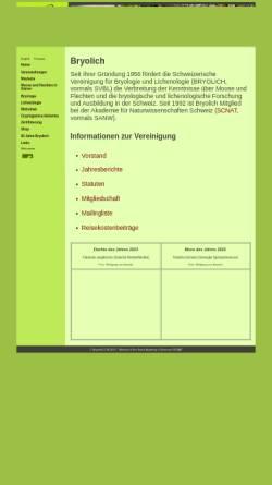Vorschau der mobilen Webseite www.bryolich.ch, Schweizerische Vereinigung für Bryologie und Lichenologie (Bryolich)