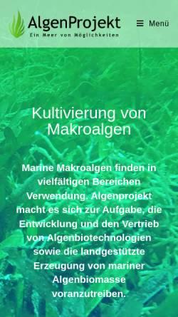 Vorschau der mobilen Webseite www.algenfarm.de, Sylter Algenfarm