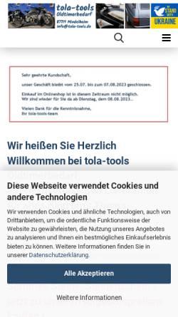 Vorschau der mobilen Webseite www.tola-tools.de, Tola Tools - Thorsten Lange