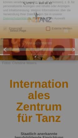 Vorschau der mobilen Webseite inztanz.de, InzTanz, Internationales Zentrum für Tanz