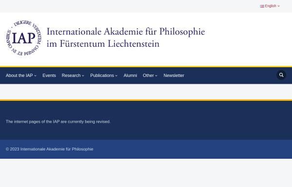 Vorschau von www.iap.li, Internationale Akademie für Philosophie