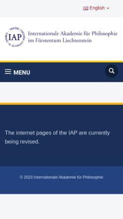 Vorschau der mobilen Webseite www.iap.li, Internationale Akademie für Philosophie