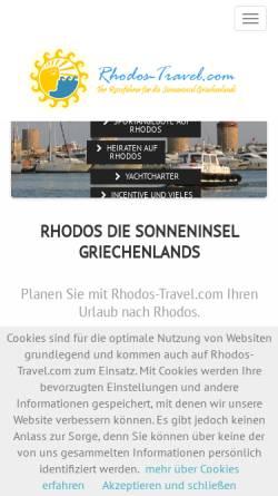 Vorschau der mobilen Webseite www.rhodos-travel.com, Rhodos Travel Revue