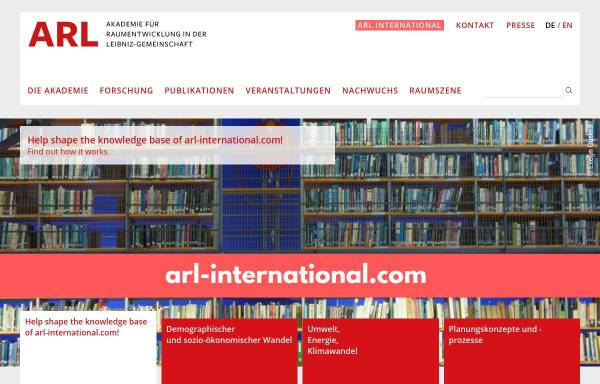 Vorschau von www.arl-net.de, Akademie für Raumforschung und Landesplanung (ARL)