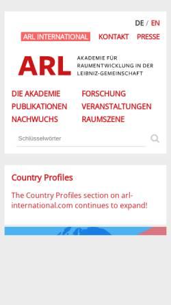 Vorschau der mobilen Webseite www.arl-net.de, Akademie für Raumforschung und Landesplanung (ARL)
