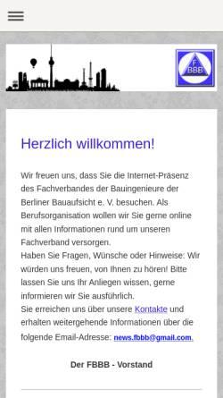 Vorschau der mobilen Webseite www.fbbb.de, Fachverband der Bauingenieure der Berliner Bauaufsicht e.V. (FBBB)