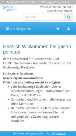 Vorschau der mobilen Webseite gastro-point.de, Gastronomie - Fachhandel Luboch