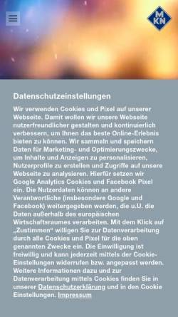 Vorschau der mobilen Webseite www.mkn.com, MKN - Maschinenfabrik Kurt Neubauer GmbH & Co.