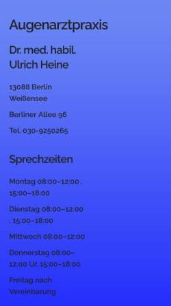 Vorschau der mobilen Webseite www.augenarzt-dr-heine.de, Dr. med. habil. Ulrich Heine Augenarzt