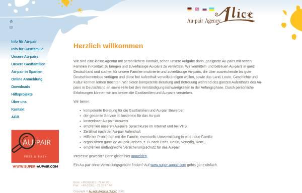 Vorschau von www.aupair24.com, Au-pair Agentur Alice
