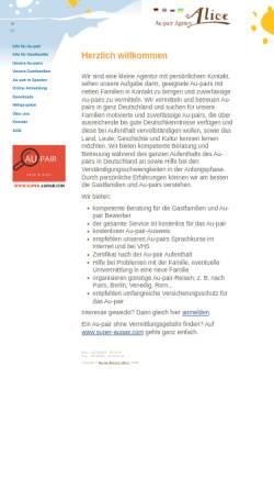 Vorschau der mobilen Webseite www.aupair24.com, Au-pair Agentur Alice