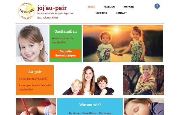 Vorschau von www.jojaupair.de, joj'au-pair - Jochen und Jolantas Au-Pair-Agentur