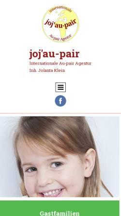 Vorschau der mobilen Webseite www.jojaupair.de, joj'au-pair - Jochen und Jolantas Au-Pair-Agentur