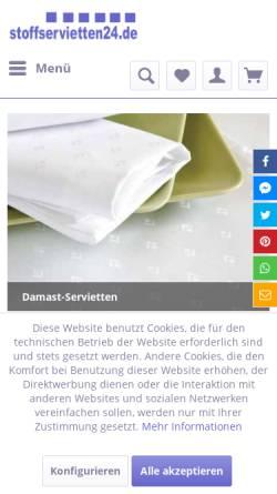 Vorschau der mobilen Webseite www.stoffservietten24.de, Stoffservietten Handel