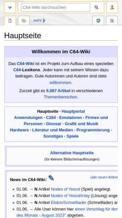 Vorschau der mobilen Webseite www.c64-wiki.de, Privater Wiki über den C64