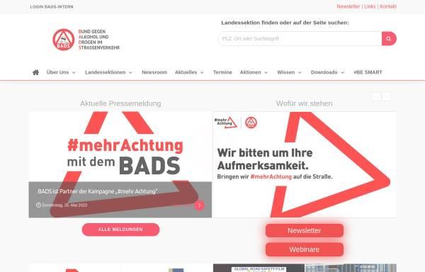 Vorschau von www.bads.de, BADS Bund gegen Alkohol und Drogen im Straßenverkehr e. V.