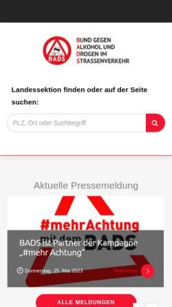 Vorschau der mobilen Webseite www.bads.de, BADS Bund gegen Alkohol und Drogen im Straßenverkehr e. V.