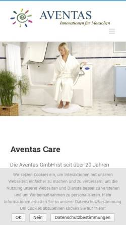 Vorschau der mobilen Webseite www.aventas-care.de, Aventas GmbH