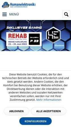 Vorschau der mobilen Webseite humanelektronik.de, Humanelektronik Spezial und Rehabilitationselektronik Stefan Schaaf