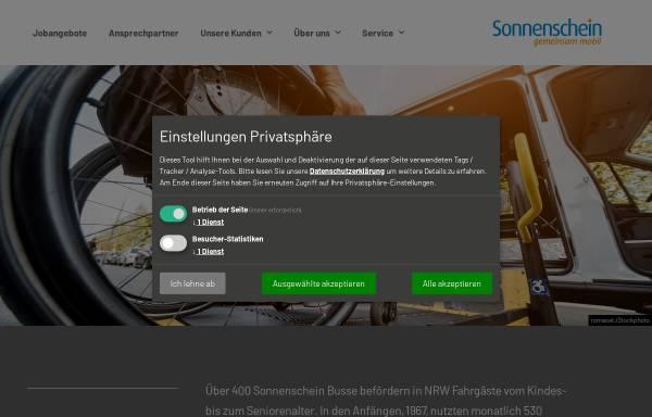 Vorschau von www.sonnenschein-personenbefoerderung.de, Schulbusse Sonnenschein Personenbeförderung GmbH