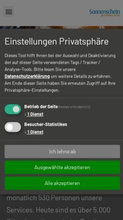 Vorschau der mobilen Webseite www.sonnenschein-personenbefoerderung.de, Schulbusse Sonnenschein Personenbeförderung GmbH