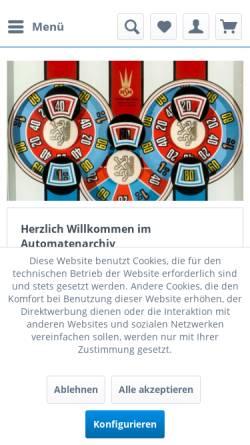 Vorschau der mobilen Webseite automatenarchiv.de, Automatenarchiv.de - Spielautomaten & Technik Daniel Breitenbach