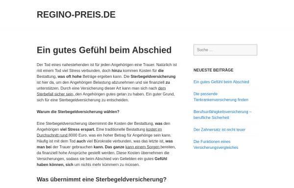 Vorschau von www.regino-preis.de, Regino Preis
