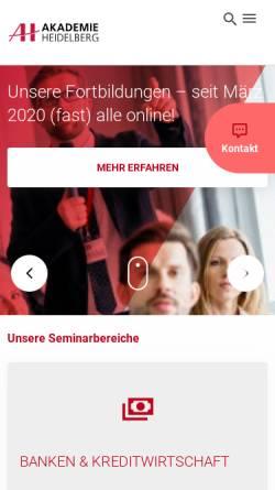Vorschau der mobilen Webseite www.akademie-heidelberg.de, AH Akademie für Fortbildung Heidelberg GmbH