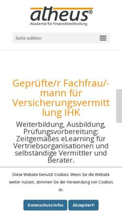 Vorschau der mobilen Webseite www.atheus-akademie.de, Atheus - Akademie für Finanzdienstleistung GbR