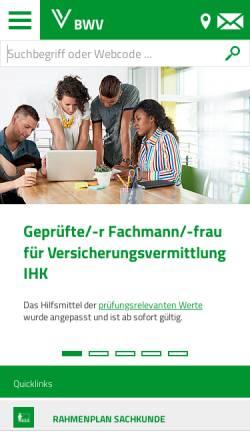Vorschau der mobilen Webseite www.bwv.de, Berufsbildungswerk der Deutschen Versicherungswirtschaft (BWV) e.V.