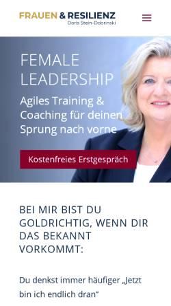 Vorschau der mobilen Webseite www.frauen-und-resilienz.de, Doris Stein-Dobrinski - Training und Coaching