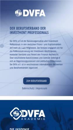 Vorschau der mobilen Webseite www.dvfa.de, DVFA, Deutsche Vereinigung für Finanzanalyse und Asset Management GmbH