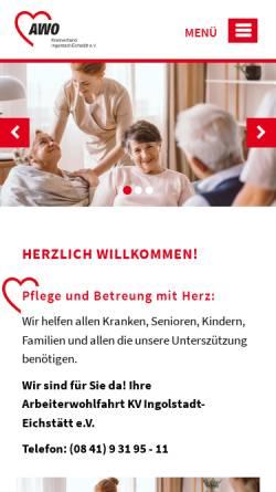 Vorschau der mobilen Webseite www.awo-in-ei.de, AWO Ingolstadt-Eichstätt