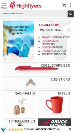Vorschau der mobilen Webseite www.werbeartikel-discount.com, HIGHFLYERS Werbeartikel GmbH